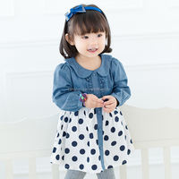 80282 new fashion child clothing wave point skirt baby party dress dot dress for girls