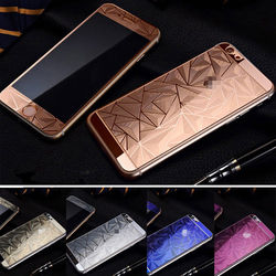 Anti-glare Fancy Color Diamond Screen Protector for iPhone 6 ,Premium Front And Back Tempered Glass Screen Protector With Design