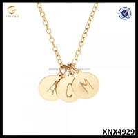 New Design Initial Jewelry Wholesale 925 Sterling Silver Disc Pendant Necklace