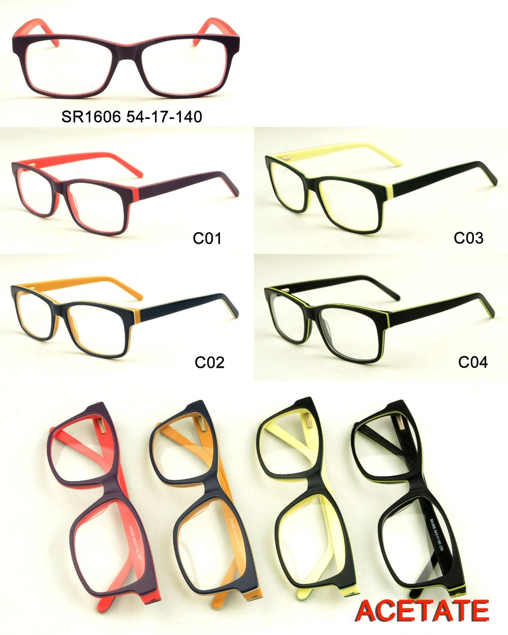 Neuen stil fancy doppel-farbe lesebrille marke acetat optische ...