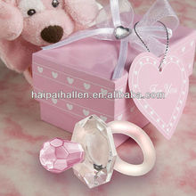 Choice Crystal Multi-Faceted Baby Girl Pink Pacifier Favor