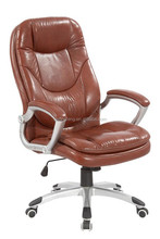 Heated seats brown leather office chair Y-2646