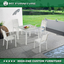 resin wicker woven outdoor alum table and stackable chair rattan furniture