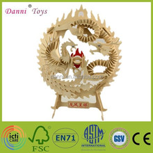 Factory Sale Dragon And Phoenix Wooden 3d Puzzle DIY Toy