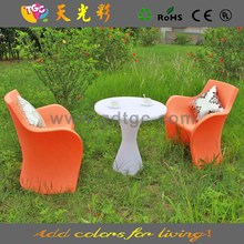 multicolored PE material plastic table and chairs furniture clear acrylic swivel chair