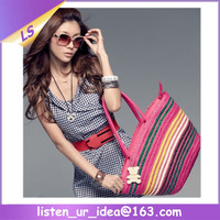 Wholesale colorful horizontal stripes straw beach bag