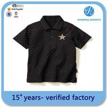 Negro impresión de la más nueva moda de los niños embroma la camisa de polo ropa venta al por mayor