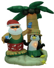 Christmas Inflatable Santa and Penguin with Palm Tree
