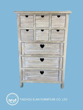 antique solid wooden furniture tall storage cabinet with multi drawers design for living room