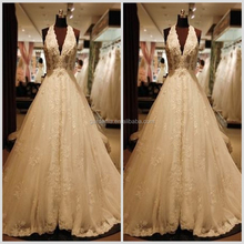 Luxury Royal Empire Waist 2012 Halter Lace Bridal Wedding Dress Backless with Applique