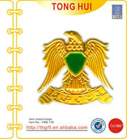 Gold embossed eagle metal pin badges and emblems