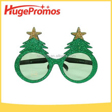 Christmas Tree Gold Stars Green Tree Glitter Party Glasses for promotion