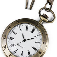 WP077 New Men Copper Stainless Steel Case White Dial Roman Numbers Antique Pocket Watch with Chain