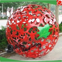 red color metal hollow out ball ornament