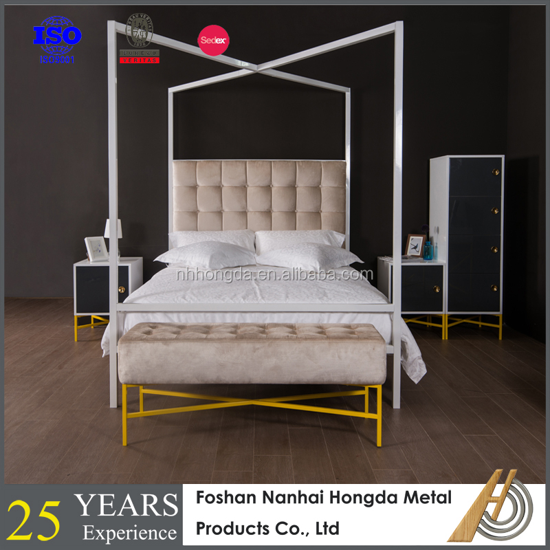 four poster double canopy bed with plywood slats buy. Black Bedroom Furniture Sets. Home Design Ideas