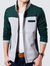 2014 popular men's snap crin french terry knitted jacket