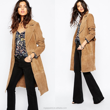 New arrival winter suede coat 100% Leather suede fabric ladies long winter coats for women