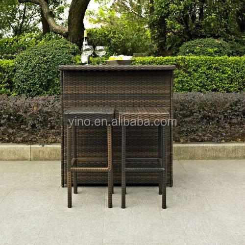 Bar tables et chaises rectangle 3 pe a ext rieur en osier for Table exterieur osier
