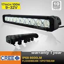 high performance 17 inch 100W LED light bar,single row offroad bar light