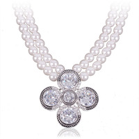 Trendy hot jewelry accessories for women white gold long chain pearl necklace