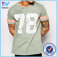 Yihao Men Custom 100% Cotton Loose Fit Printing T Shirt with Varsity Pattern Gym T Shirt Wholesale China