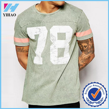 Yihao Men Custom 100% Cotton Loose Fit Printing T Shirt with Varsity Pattern Gym T Shirt Wholesale China