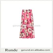 Impresión floral de la gasa larga falda patrón para mujeres
