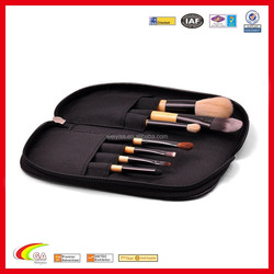 Handmade Zippered Professional Leather Cosmetic Makeup Brush Case for Wholesale