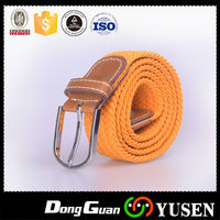 Fashion top quality factory direct sale yellow casual ladies woven elastic belt