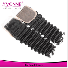 Best selling deep wave brazilian virgin human hair extensions,silk top closure
