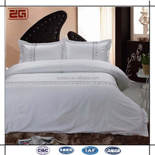 Cotton Plain White Embroidery Wholesale Luxury Hotel Bed Sheet