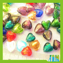 many colors glass foil heart beads for jewelry decoration