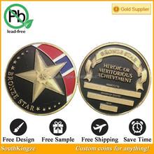 Stock black bronze star military coin of heroic meritorious achivement