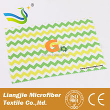 Full custom color picture digital printed microfiber glasses cleaning cloth with saw cutting edge