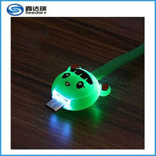 New smart phone led light cable, cartoon animal design micro usb cable with led light
