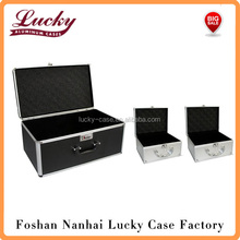 3pc Set-Black/Silver Aluminum Hard Case Makeup Jewelry Organize Storage Case 20x12x10