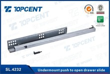 Side mounted single extension push to open drawer slide