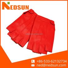 Red leather fingerless gloves for women