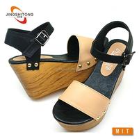 Wholesale lady fancy nude wedge sandals women casual shoe