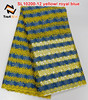 yellow royal blue nigerian cord lace fabric embroidery stone for party sl10200