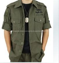 América delicado de la moda de los hombres de mano de obra verde táctica camisa/más el tamaño de camisas militares