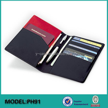 Factory OEM customize Executive Genuine leather passport wallet with pen holder