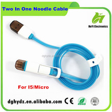 falt noodle 2in1 power cable for samart mobiles