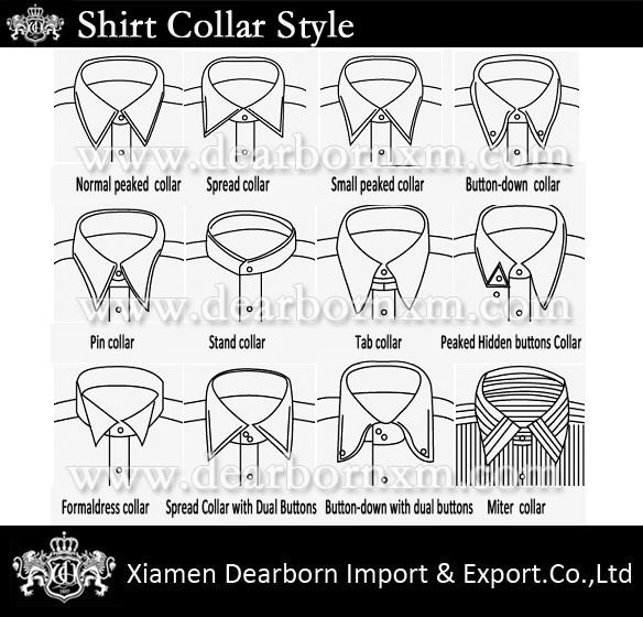 Is there a name for this type of dress shirt collar and for Different types of dress shirt collars