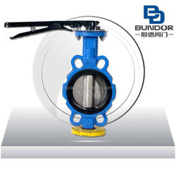 Worm gear operated large size wafer butterfly valve