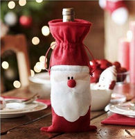 Christmas Santa Claus red wine bottle bags Christmas dinner table decoration