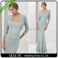 Elegant Mermaid Strapless Beads Mother Of The Bride Lace Dresses With Jacket