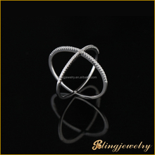 2015 new fashion jewelry simple design silver X ring cz micro pave setting rings