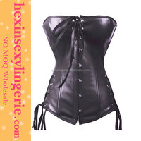 Hot sell top sexy halter cheap leather corset with straps