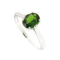 Natural Chrome Diopside 6*8 Oval Ring in Silver nice design and fine silver Nickle and led free.